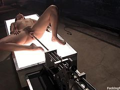 Bobbi Starr is up for a sex machine session. Watch this solo scene where she gets her hairy pussy pounded repeatedly by the sex machine.