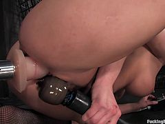 Take a look at this hot video where a busty brunette's brutally fucked by a machine in this breath taking scene.