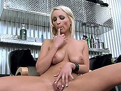 Lexi Swallow will not swallow dicks today, but do another splendid solo performance. Here she thrusts blue vibrator in her coochie and moans lustily while juice comes out of her.