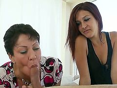Horny slutty mother Nikki Chase teaches cute petite Vanessa Videl how to suck cock