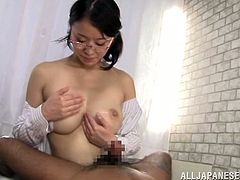 Lustful Japanese chick takes her clothes off and then rides a dick. After that she gets fucked from behind. She also gets jizzed on her tits.