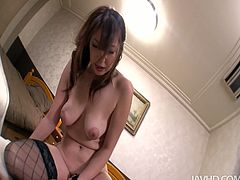Emotional hot brunette with nice tits and smooth ass loves getting her hairy cunt polished properly. But pale slut desires to give a handjob and blowjob at first for being fed with delicious gooey sperm.