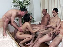 Bunch of aroused fuckers gives bad times to seductive Japanese hussy. She mouth fucks their stiff rods simultaneously before she gets in doggy style for a poke both from behind and from the front in steamy group sex video by Jav HD.