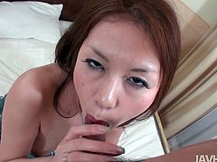 Dirty looking Japanese hussy gets her ruined snatch finger fucked in doggy style before she kneels down in front of sturdy cock for a blowjob remembering to rub it between her oversized tits in perverse pov sex video by Jav HD.