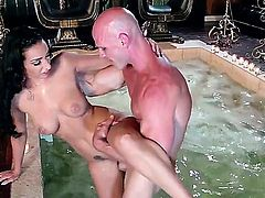 Skinny hot gal riding on top of a large trimmed jimmy.