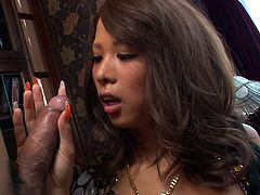 Horn made Japanese bimbos gives a zealous blowjob to aroused wanker spraying it with her spit before a kinky fucker proceeds to eating her shaved punani in steamy group sex video by Jav HD.