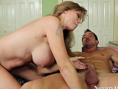 Insatiable brunette fucker makes out with a tasty looking red-haired mom. He eats her soaking bald pussy before he starts pounding her in sideways pose.