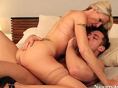 Impressively hot and voracious blondie gets rid of her pink blouse and gonna be fucked doggy. Ardent filth loves riding a cock. Her boobs bounce. She smacks her ass passionately and groans of delight like a mad one.