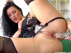 Busty hot brunette with amazing figure and hot lingerie gets fucked by two horny guys right on top of a pool table. So, are you up for a game?
