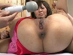 She is daring Japanese wench with slim and fit body. She has got appetizing perky tits. Horny guys apply powerful vibrator on her pussy fingering her asshole too.