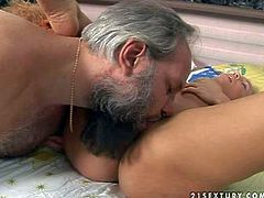 Teen slut with nice natural hooters pleasures fat grandpa