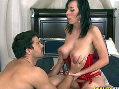 Black haired Alia Janine with gigantic natural hanging knockers in red lingerie gets licked by turned on dude Ramon Nomar and gets down on knees to suck his rock hard pecker