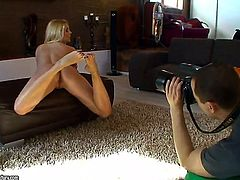 Brandy Smile is a gorgeous blonde with beautiful feet and a stunning figure. She is teasing us in this behind the scenes video and then we get to see Kitty Cat as well, getting her feet licked by a lover.