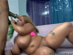 Full figured ebony with enormous tits gets nailed hard