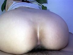 Sex hungry Japanese bushbitch hops on a sturdy dick in cowgirl style, which is later replaced with a ride in reverse cowgirl style in sultry sex video by Jav HD.