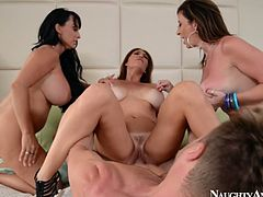 Naughty Ametica's porn actresses are going wild in a dirty foursome sex action. All parties are pleasured during the action.