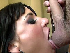 Brunette Gia Dimarco is gagging on a long boner of this dude and she is taking it down her throat balls deep. It is like she doesnt have a gag reflex at all.