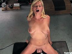 Blonde babe wants to try out sex machines. Get ready to watch this moaning blonde while she gets pounded by the cock machine over and over.