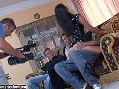 Whorish Simony Diamond in boots has rough gang bang