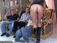 Attractive black haired bitch Simony Diamond with firm ass and great hunger for cock in tight latex dress and boots teases horny dudes and gets nailed in rough gang bang