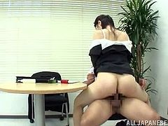 Japanese girl gets her pussy and boobs licked in the office. After that she sucks a dick and gets fucked hard on the table.