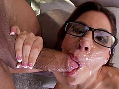 Nerdy and hot brunette Aleksa Nicole with glasses is sucking his huge balls indoors