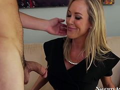 Spoiled slim blond head in black tight dress and stockings loves masturbating on the couch. But this bitch has a great a chance to experience a tender and pleasant cunnilingus, so she stretches legs wide and jams her boobs while horny dude licks her cunt.