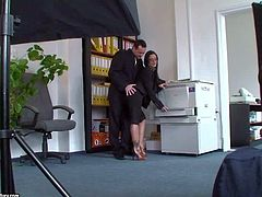 Black Angelika is a nice looking big boobed pornstar that makes porn with enthusiasm. This backstage video featuring her having office sex horny hard dicked guy is the proof.