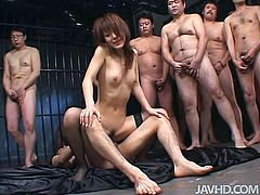 Sultry Japanese Mao Saito is an exhibitionist and fucking on the set with all these people watching makes her hairy pussy get really tight and makes the orgasm that much better.