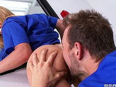 Krissy Lynn is a sexy nurse who's attending a seminar at a teaching hospital. She heads to the operating room to meet Doctor Erik Everhard fro a quick fuck. She doesn't realize all the med students can see her getting fucked like a slut from behind due to the two-way glass. The doc knows though.