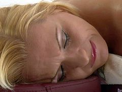 Naked blonde Katja Kassin flashes her hairless pussy as she gets her bit butt massaged by curious red-haired lesbian girl Andrea Sky. Watch asslicious woman get turned on on massage table.
