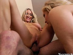 Lucky stud Tyler Nixon gets a chance to drill the anuses of hot Emma Starr & Julia Ann