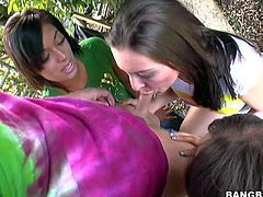 Audrianna Angel, Gracie Glam, Catalina Taylor are three dirty porn girls that give blowjob to lucky dude by turns outdoors and bare their assets. Watch them suck and strip naked!