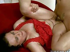 Black haired whorish granny with natural tits and ponytail in red lingerie gets her hairy cunt boned deep in provocative positions in by her handsome neighbor all over the place