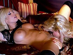 Two kinky lesbian MILFs in fishnet bodysuits lie on a bed and lick each others shaved pussies in different positions.