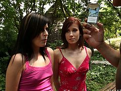 Two smoking chicks are having fun with their BFs outdoors. The girls get mouth-fucked and then let the men destroy their tight pussies from behind.