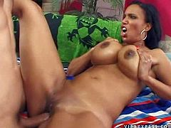 Mature long haired black milf with big firm fake melons and juicy ass screams loud while turned on pale dude fucks her hard all over the bed in amazing action filmed in close up