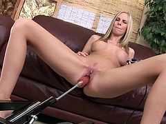 Sexy famous blonde porn star Aimee Addison strips down and shows off her toned body. She lays back and gets fucked with a dildo attached to an electric fucking machine. The machine thrusts deep into her pussy with a lot of power.