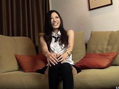 Torrid and palatable brunette from Japan is fond of talking. She can shut up just seeing a dick boner. So slutty girlie in blouse kneels down for sucking a dick passionately for sperm and does her best for pleasing a man.