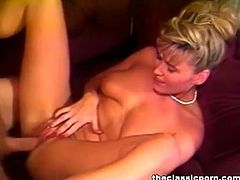 Vintage hardcore scene from Naughty Ninja Girls 1, a big-breasted blonde honey sucks his dick, gets on top and more, see some titty fucking too.