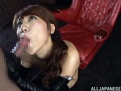 The hot Japanese babe Ria Horisaki is going to get fucked and suck cock for jizz wearing leather gloves and boots.