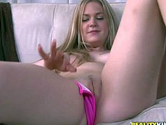 Cute first timer Samantha with long blonde hair and perky tits strips down to her pink thong panties and then gets her shaved pussy out to masturbate on the couch side by side with one lucky guy.