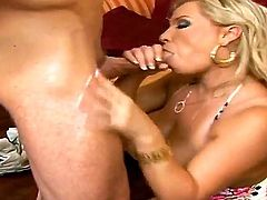 Passionate and hot blowjob from a gorgeous blonde bitch Rachel Love to lucky boy Reno