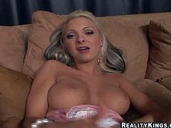 Young arousing blonde goddess with stunning big hooters and long sexy nails fingers hairless minge with kinky piercing to wet orgasm while Chris Charming films her in point of view