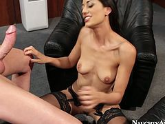 Skinny Latin hussy in seductive lingerie and stockings gives a rapacious blowjob to aroused boss remembering to suck his strain balls. Later she lays on her back for a poke in missionary style.