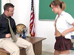 This school babe in pigtails behaves like a pig in panties. Let her seduce her new teacher by stripping out of her school uniform. Leave the fucking to the teacher!