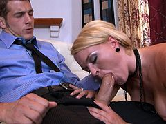 Arousing blonde with superb forms is having intense pleasure sucking and fucking like sluts