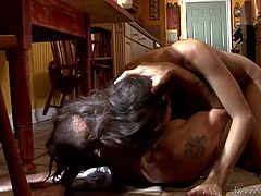 Sex hungry brunette April ONeil with juicy big boobs and sexy ass spreads her legs for handsome stud eagerly and takes his cock in her eager love hole. Sexy bodied brunette and hard dicked dude fuck all over the kitchen.
