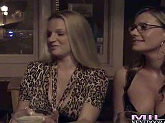 Attractive heavy chested busty blonde milfs Brianna Ray, Kristen Cameron and Melissa with smoking hot curvy bodies in sexy outfits gets very naughty and start making out with each other