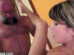 Insatiable and greedy for cum young bitch Doris Ivy for this ones tries to get something special. She sucks his dick throughout and tastes his creamy desert, So let it be young or old, a hard cock is more than welcomed.Old guy who is always ready to bang young pink kitty not stopping until she gets covered with cum.Enjoy!